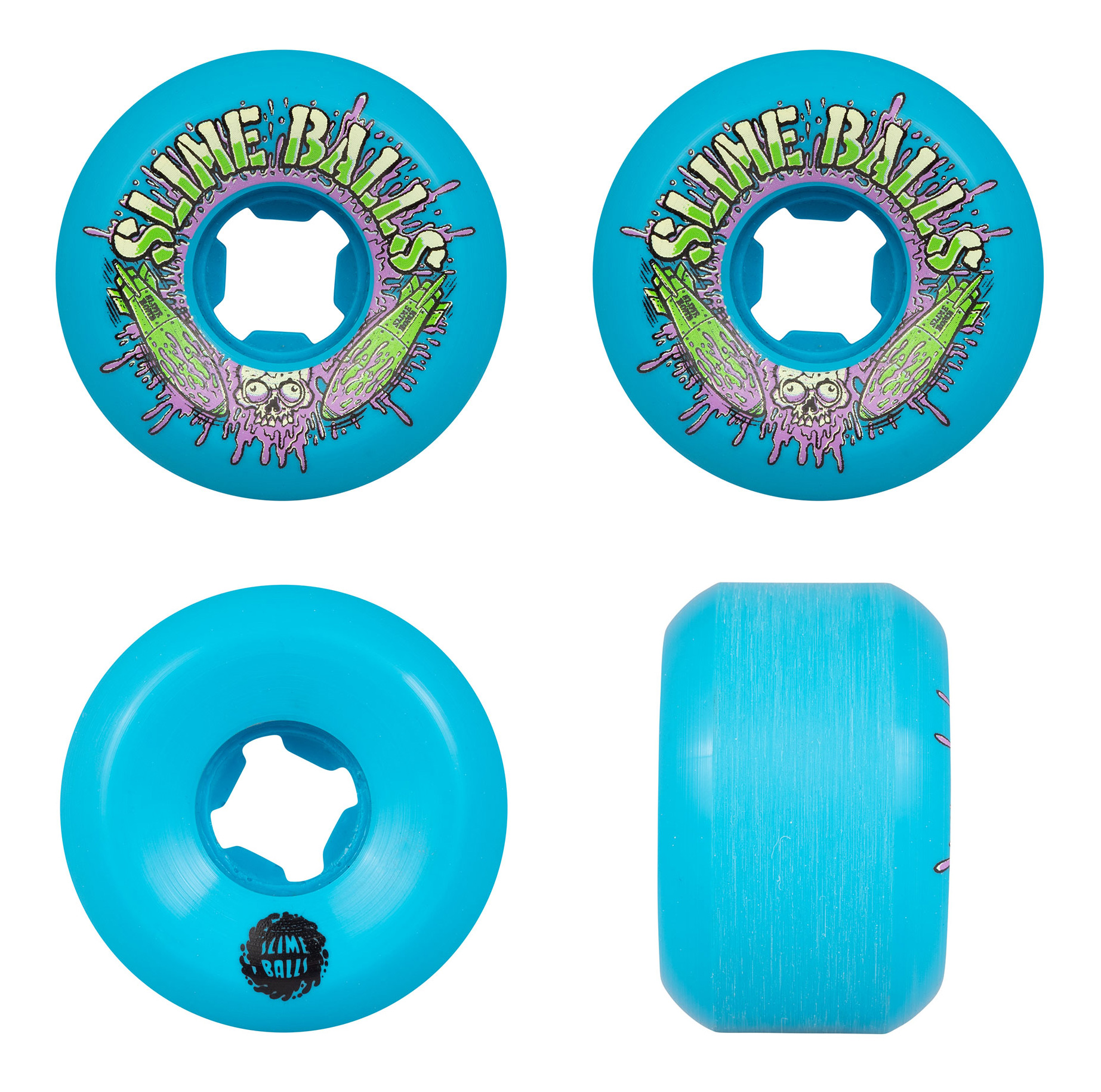 Santa Cruz Skateboards Slimeballs Slime Bombs Speed Balls Blue Skateboard Wheels Set of 4 56mm 99a
