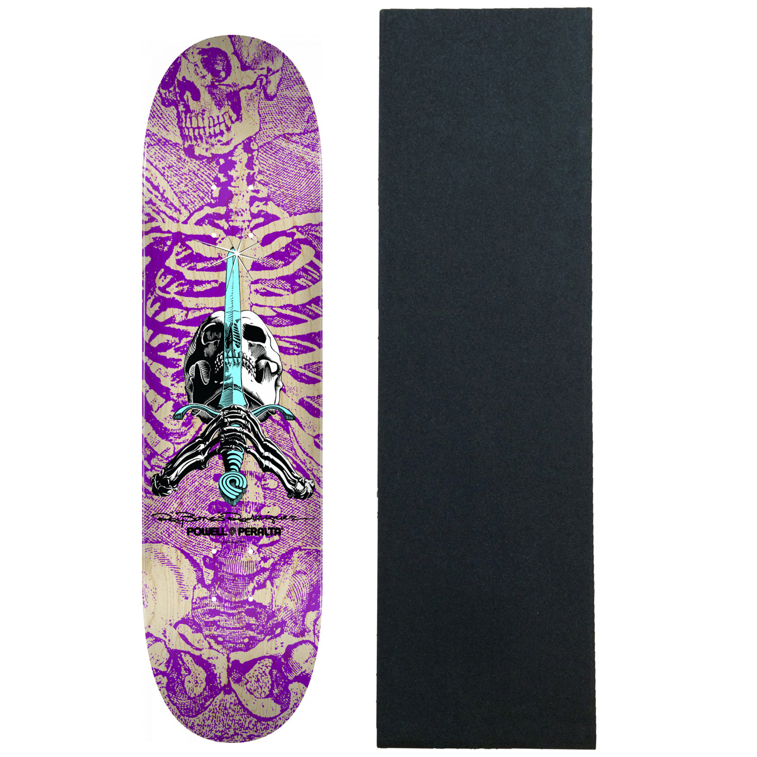 """Powell Peralta Skateboard Deck Skull and Sword Purple 9.0/"""" x 32.95/"""" with Grip"""