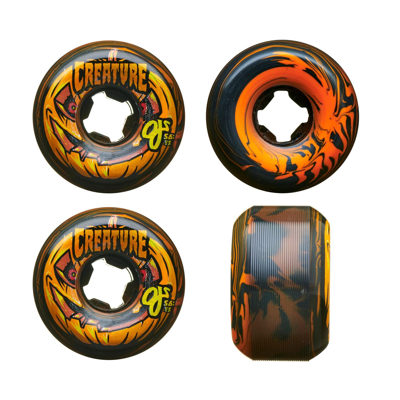 OJ III Skateboard Wheels 56mm Pumpkin Head Bloodsuckers 97A Orange Black Swirl