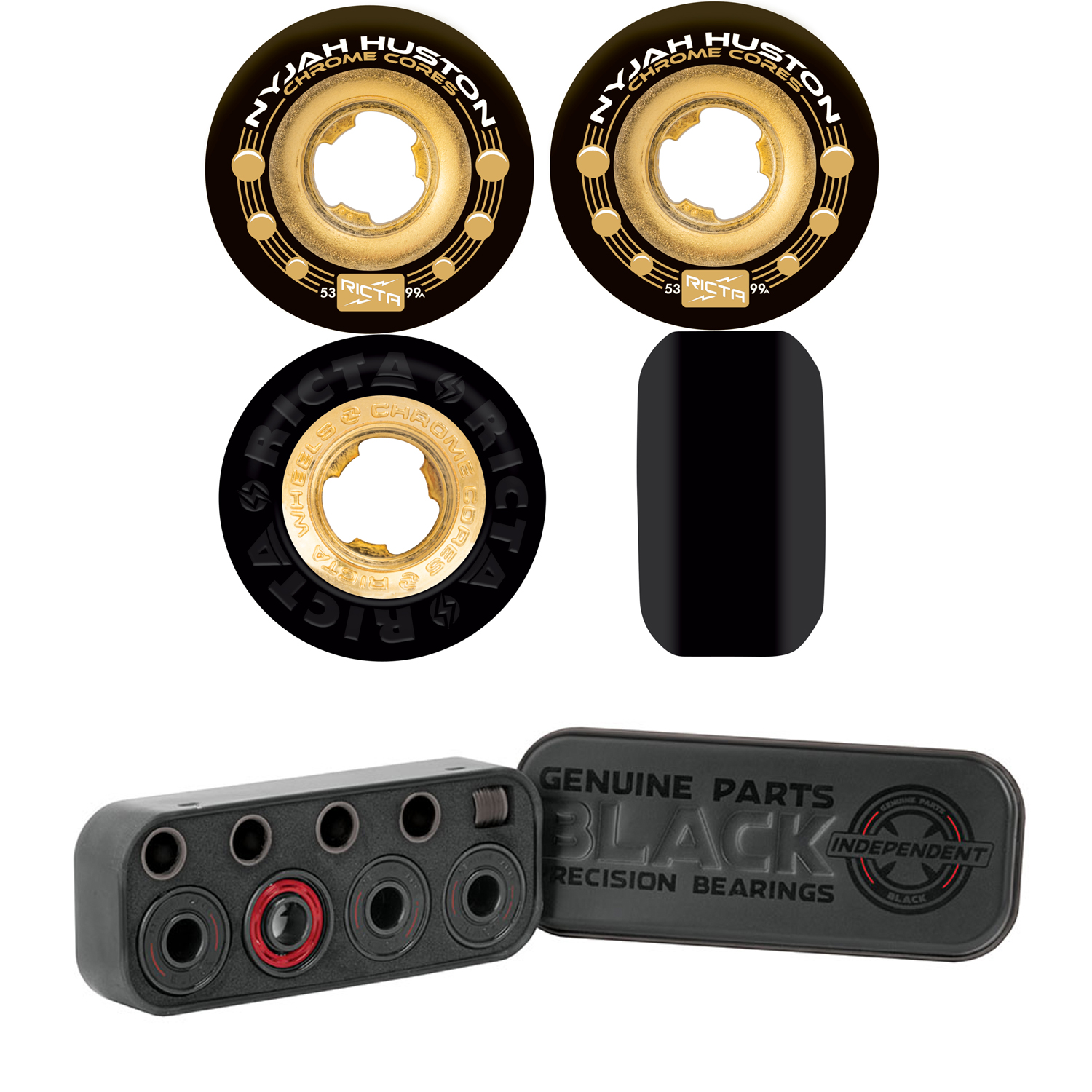 Details about Ricta Skateboard Wheels 53mm Nyjah Huston Chrome Core  Black/Gold + INDEPENDENT B