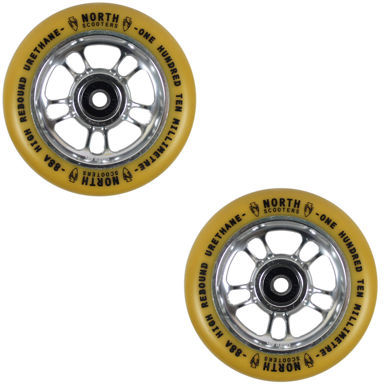Details about North Scooters Wagon Gum 88A Scooter Wheels Silver 110mm Pair  of 2