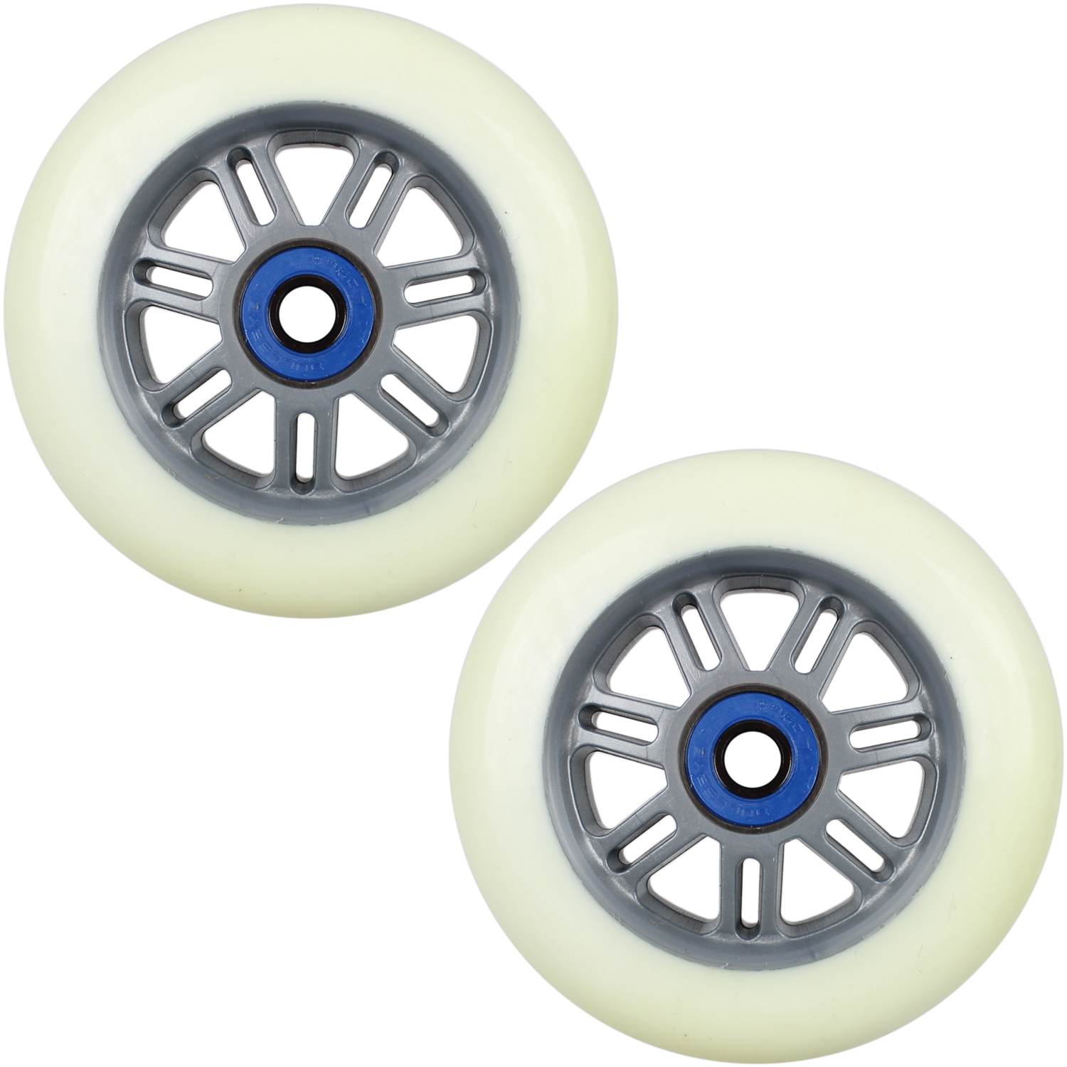 Details about Scooter Wheels 2 Pack Grey White 100mm with Abec 7