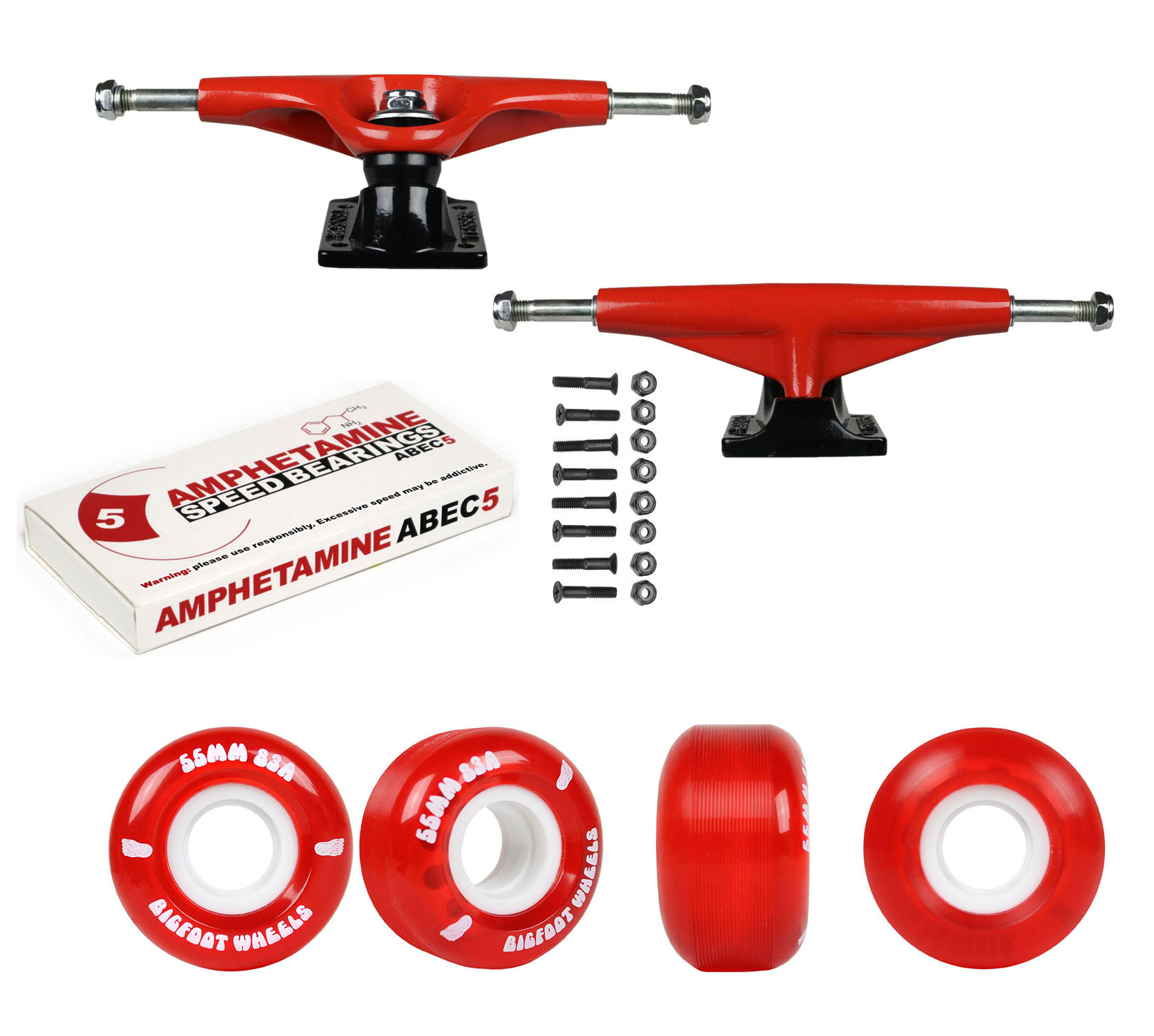 Set of 4 Bigfoot Skateboard Wheels 55mm 83A Soft Cruiser Filmer Wheels Black