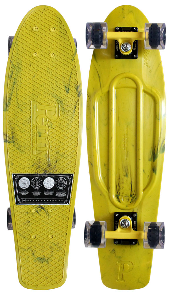 Penny Plastic Skateboard Complete Cruiser Marble Yellow 27