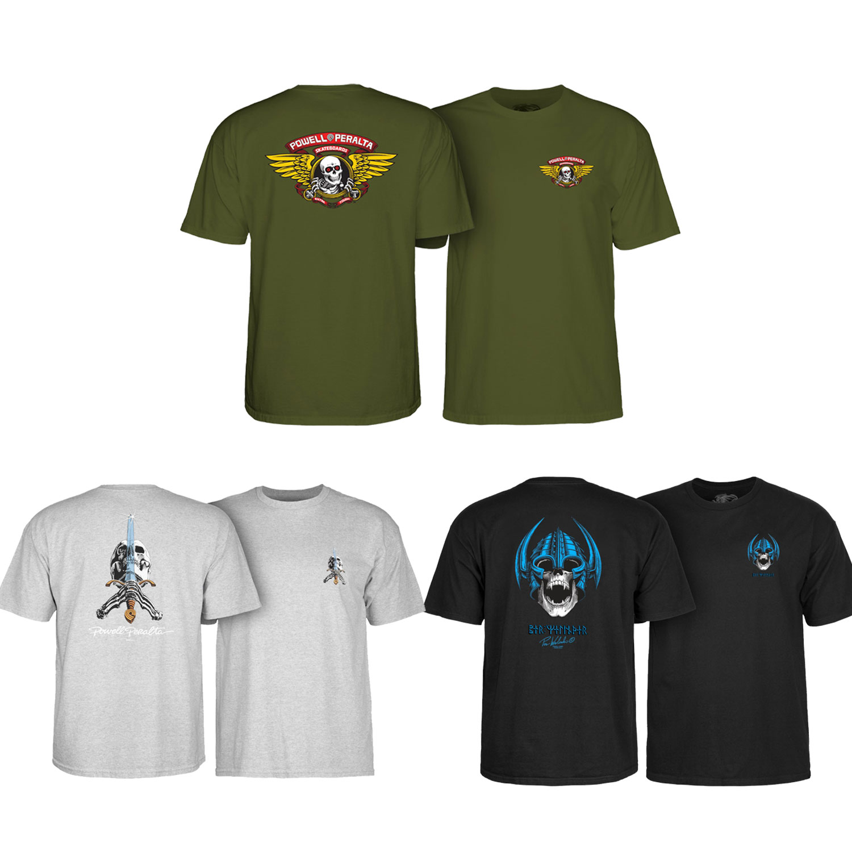 Powell Peralta OVAL DRAGON Skateboard T Shirt ASH GREY XL